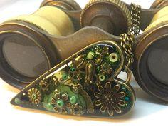Timeless green steampunk heart pendant steampunk jewellery