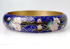Vintage Cloisonne Enamel Bangle Bracelet Royal Blue by jujubee1