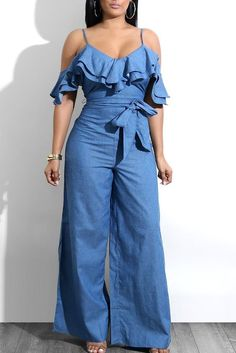 Layered Ruffles Belted Slip Denim Jumpsuit We Miss Moda is a leading Women's Clothing Store. Offering the newest Fashion and Trending Styles. Casual Jumpsuit, Denim Jumpsuit, Jumpsuit Outfit, Blue Jumpsuits, Jumpsuits For Women, Denim Overall, Trend Fashion, Style Fashion, Spring Fashion