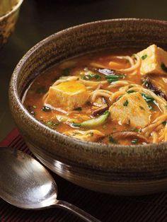 Spicy Tofu Hotpot Tofu, Mushrooms, Bok Choy, Noodles, Cilantro, Soy Sauce, Broth, Ginger, Garlic, Soy Sauce, Brown Sugar, Chili garlic Sauce