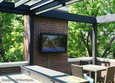 Great Looking Outdoor Patio Wit Wall Mounted Flat Panel Tv. Install Gallery  | All Wired