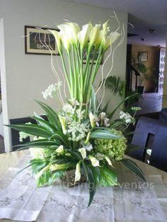 Tropical Floral Arrangements, Large Flower Arrangements, Funeral Flower Arrangements, Large Flowers, White Flowers, Beautiful Flowers, Altar Flowers, Church Flowers, Funeral Flowers
