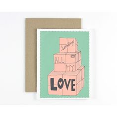Sign seal and deliver every ounce of your love with this sweet card! • hand screen printed in Halifax Nova Scotia • blank inside • 4¼ × 5½ folded size • comes with a kraft envelope