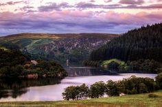 Sunset over Pen-Y-Gareg Dam, Rhayader Dams, Elan Valley, Wales