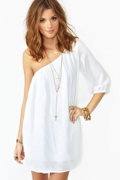 cute asymmetrical white dress