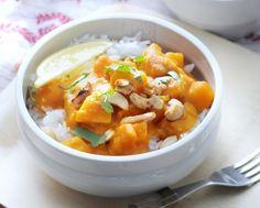 Vegetarische rode curry met pompoen