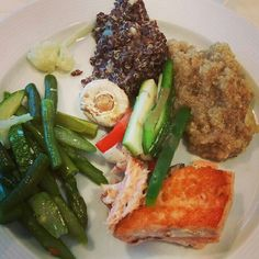 Salmon, 2 types of quinoa,  veggies from a hotel buffet!