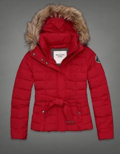 Doudoune rouge Abercrombie Fitch