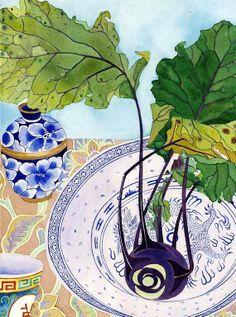 Kohlrabi still life:  Gabby Malpas watercolour C6 greeting card and envelope
