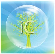Royalty Free Clipart Image of a Tree in a Bubble