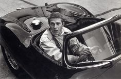 Steve McQueen in his XKSS Jaguar.