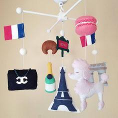 Felt Mobile, Mobile Baby, French Nursery Decor, Dinner In Paris, National Flag, Nursery Neutral, Baby Girl Gifts, Baby Room, Care Bears
