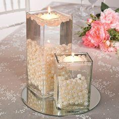 Easy Pearl Bead Centerpiece Idea / http://www.deerpearlflowers.com/floating-wedding-centerpieces/2/