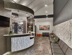 Inviting lobby design for a pediatric dentistry styled by Grace Thomas Designs …, – İndustrial Office Medical Office Decor, Dental Office Design, Office Interior Design, Office Interiors, Office Designs, Dental Offices, Medical Design, Lobby Design, Chiropractic Office Design