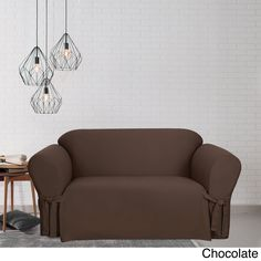 Sure Fit Cotton Duck Loveseat Slipcover (Chocolate), Brown (Solid)