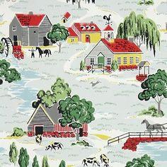 Vintage Wallpaper Farm Scenic
