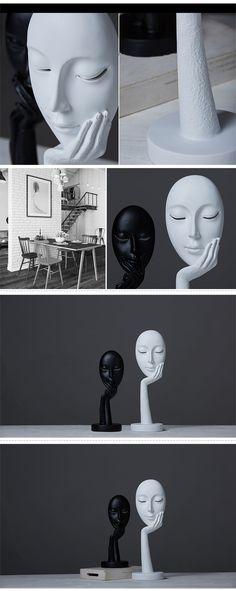 Black & White Artistic Craft Mask Simple European Style Home Decor