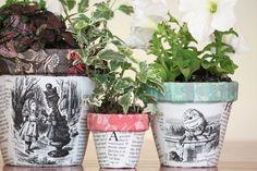alice in wonderland decoupage flowerpots