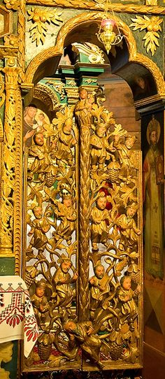 Chotyniec, Poland ~ The Wooden Church of the Holy Mother of God. The Royal Doors, Holy Doors, or Beautiful Gates are the central doors of the Iconostasis in an Eastern Orthodox or Greek-Catholic Church. The doors in the 1671 iconostasis of the old wooden church in Chotyniec is carved to represent the Tree of Life.