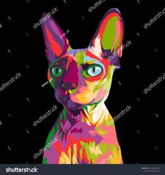 Sphynx Cat Colorful Pop Art Illustration Stock Vector (Royalty Free) 1438542536 Colorful Animal Paintings, Colorful Animals, Backyard Hammock, Pop Art Illustration, Sphynx Cat, Artsy Fartsy, Street Art, Royalty Free Stock Photos, Doodles