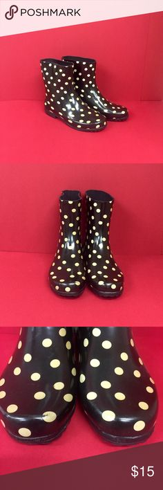 Ankle Rain Boots Cute Black with Tan Polka Dot Ankle High Rain Boots! Have a few scuffs & imperfections otherwise excellent condition! Say size 6 but fit like a 6.5 Shoes Winter & Rain Boots