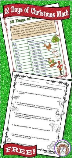These Twelve Days of Christmas multi-step math word problems are challenging, fun and free!!