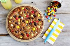 Torta cookie con m&m's e smarties