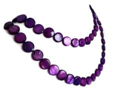 Deep Purple Extra Long Shell Pearl Necklace by Lunarpearl on Etsy, $17.00