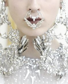 She celebrates the winter frost and cold with diamonds and platinum details///Givenchy Haute Couture Spring/Summer 2012