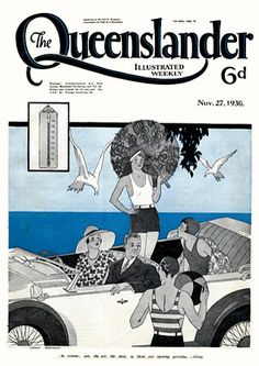 Vintage Poster Print - Cover from The Queenslander 1930 - Summer by the Sea, Gatsby style Art Deco Posters, Poster Prints, Art Print, Vintage Colors, Vintage Prints, Sea State, Australian Vintage, Australian Fashion, Tropical Fashion