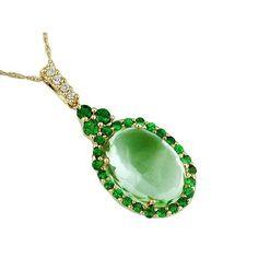 Ladies Green Amethyst, Green Garnet, & Diamond Pendant in 14k Yellow Gold (TCW 8.17) | GrandeJewelry.com