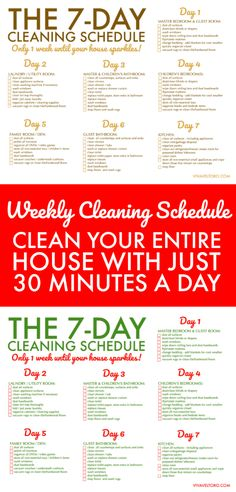 Clean your home in just 30 minutes a day for 7 days. Here's a FREE printable weekly house cleaning schedule so you can do it! Clean your home in just 30 minutes a day for 7 days. Here's a FREE printable weekly house cleaning schedule so you can do it! Weekly House Cleaning, House Cleaning Checklist, Daily Cleaning, House Cleaning Charts, Weekly Cleaning Charts, Home Cleaning, Weekly Cleaning Schedule Printable, Household Cleaning Schedule, Cleaning Calendar