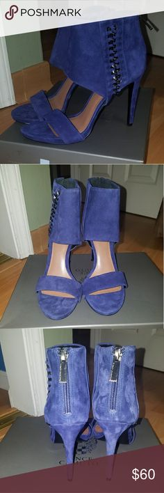 Vince Camuto Heels SCRUMPTIOUS pair of heels!!! Only wore once to an inside party. Has a few marks but can be cleaned. Soles don't even show signs of wear. Super comfy and easy to dance and walk in! The color is AMAZING! Size 7 and leather!!! Vince Camuto Shoes Heels