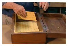 UPHOLSTER :: How To Line A Trunk, Wooden Box, Dresser or Armoir w/ Fabric by Ron…
