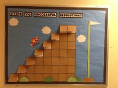 Cute idea for goal setting or behavior reward system! Classroom Bulletin Boards, School Classroom, Classroom Themes, Future Classroom, Minecraft Classroom, Goal Board, Game Themes, School Themes, School Decorations