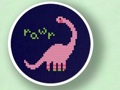 Cute Dinosaur Cross Stitch PDF by andwabisabi