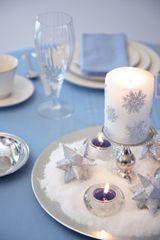 Silver and blue Christmas cheap wedding centerpiece ideas