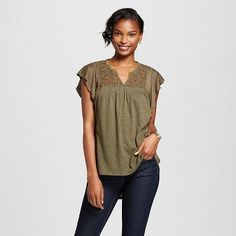 Women's Flutter Sleeve Knit Blouse with Lace Back - Knox Rose™