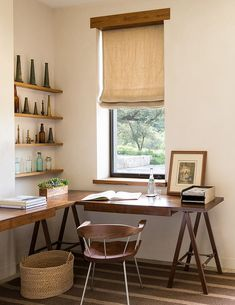 Corner home office in the farmhouse