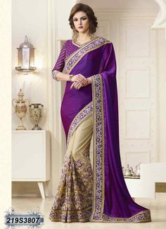 Designer Purple Coloured Two Tone Silk Saree