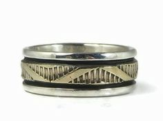 14k Gold Sterling Silver Band Ring Size 7 by Bruce Morgan, Navajo - 14k Gold Sterling Silver Band Ring Size 7by Bruce Morgan, Navajo | Southwest Fashion | Native American Jewelry