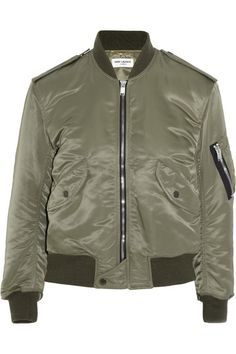Army-green shell Snap and zip fastening through front  100% nylon; trims: 100% wool; padding: 100% cotton; lining: 80% cupro, 40% cotton Dry clean Designer color: Khaki
