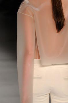 //////////// FABRICS ////////////// 100% PVC Plastic-iike fabric with a translucent characteristic.
