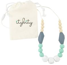 Amazon.com : Baby Teething Necklace for Mom, Silicone Teething Beads, 100% BPA Free (White, Mint, Gray, Navajo White) : Baby Teething Necklace For Mom, Teething Jewelry, Teething Beads, Tooth Necklace, Pearl Necklace, Thing 1, Baby Teethers, Free Black, Baby Registry