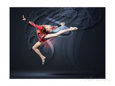 Young Cute Woman In Gymnast Suit Show Athletic Skill On Black Background Prints by Sergey Nivens at AllPosters.com