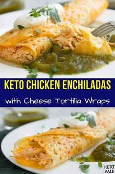 Keto-friendly Chicken Enchiladas with Cheese Tortilla Wraps - Diet & Diet Plan Low Carb Recipes, Diet Recipes, Cooking Recipes, Healthy Recipes, Banting Recipes, Atkins Recipes, Sausage Recipes, Recipes Dinner, Healthy Food
