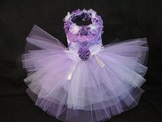 Couture Purple Dream Party Tutu Harness Dog Dress Pet Clothes#1210TT26