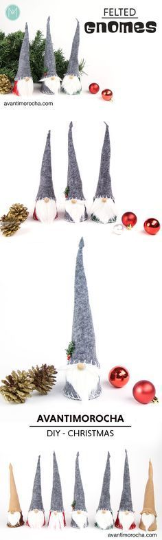 DIY Felted Gnomes – Christmas DIY | Gnomos de Fieltro - Navidad More