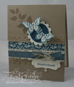 Fun to combine twine & ribbon.    i STAMP by Nancy Riley