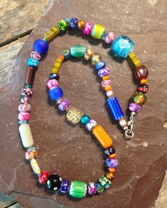 Whimsical Hippie Necklace Colorful Beaded by TheHippieBohemian